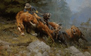 Картинка животные, картина, Andy Thomas, Энди Томас, Grizzly Mountain