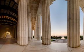Картинка колонны, Вашингтон, США, обелиск, мемориал Линкольна