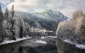 Картинка зима, снег, пейзаж, горы, мост, природа, озеро, красота