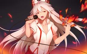 Картинка девушка, микрофон, поёт, Touhou, Тохо, Тоухоу