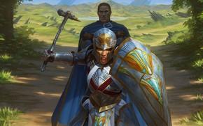 Картинка fantasy, armor, weapon, Warrior, digital art, artwork, shield, fantasy art, helmet, cape