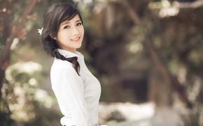 Картинка girl, Asian, long hair, photo, model, braid, bokeh, lips, face, brunette, smiling, shirt, portrait, mouth, …