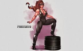 Картинка девушка, комбинезон, героиня, бодибилдер