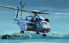 Картинка USA, Вертолёт, US Navy, MH-53E, Sea Dragon