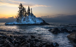 Картинка Winter, morning, Lake Superior