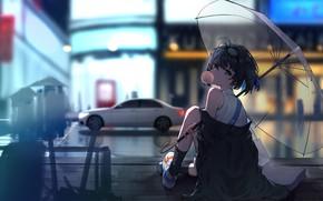 Картинка девушка, город, дождь, улица, Honkai Impact 3rd