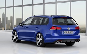 Картинка синий, Volkswagen, сзади, универсал, 2014, Golf R Estate