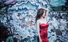 Картинка секси, поза, стена, граффити, модель, портрет, макияж, фигура, платье, брюнетка, прическа, азиатка, стоит, красивая, в …