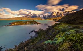 Картинка горы, мост, озеро, остров, Чили, Патагония, Национальный парк Торрес-дель-Пайне