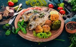 Картинка еда, рыба, овощи, специи, картошка, разделочная доска, запеченная, базилик