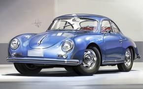 Картинка Car, Retro, Sketch, Porsche 356, Aleksandr Sidelnikov