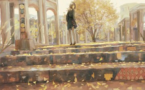 Картинка осень, девушка, город