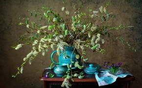Картинка цветы, ветки, кувшин, натюрморт, столик, верба, салфетка, фиалки, горшочек, Мила Миронова