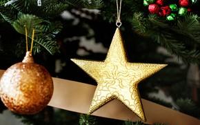 Картинка шары, игрушки, звезда, елка, Новый год