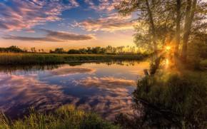 Обои небо, солнце, закат, природа, отражение, река, Алексей Малыгин