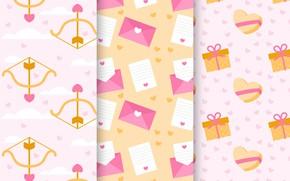 Картинка фон, подарки, сердечки, pattern