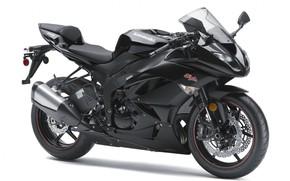 Картинка черный, мотоцикл, белый фон, байк, motorcycle, superbike, sportbike, Kawasaki Ninja ZX-6R