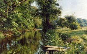 Обои 1908, датский живописец, Петер Мёрк Мёнстед, Peder Mørk Mønsted, Danish realist painter, Отражения весны, Reflections ...