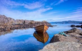 Картинка небо, синева, берег, лодка, водоем