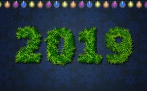Картинка Минимализм, Снег, Рождество, Снежинки, Фон, Новый год, Праздник, Огоньки, Арт, Christmas, Art, Настроение, Ёлка, Snow, …