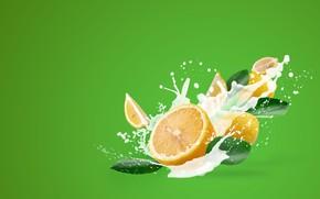 Картинка лимон, всплеск, молоко, цитрус