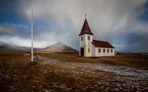 Картинка природа, Island, Hellnar Church