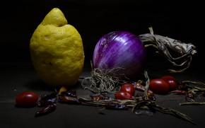 Картинка темный фон, лимон, лук, перец, натюрморт, острый, овощи, помидоры