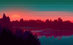Картинка Закат, Солнце, Небо, Вода, Дерево, Река, Лес, Sky, Речка, Art, Tree, Sun, Water, Sunset, River, …
