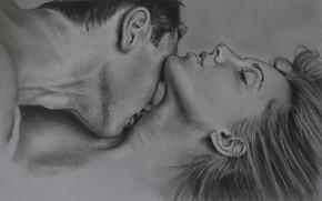 Картинка любовь, поцелуй, пара, двое