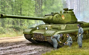 Картинка лес, трава, танк, кувалда, советский, Тяжёлый, грунтовая дорога, модернизированный, ИС-2М