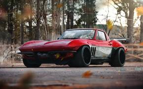 Картинка Красный, Авто, Corvette, Chevrolet, Ретро, Машина, Chevrolet Corvette, Transport & Vehicles, by TOO WHEELED, TOO …