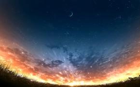 Картинка закат, природа, девочка, полумесяц