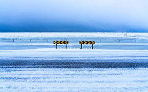 Картинка зима, дорога, снег, знаки