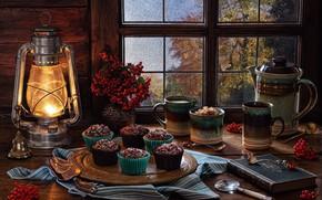 Картинка стиль, ягоды, чайник, окно, кружка, фонарь, книга, натюрморт, рябина, гроздья, кексы