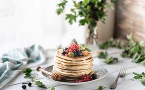 Картинка ягоды, малина, мед, тарелка, смородина, блинчики