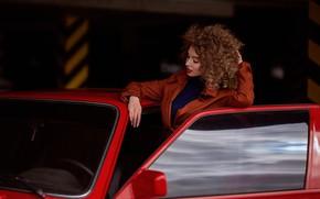 Картинка машина, авто, девушка, поза, кудри, дверца, Настя, Анна Локост