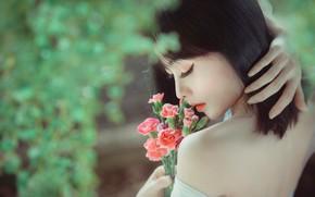 Картинка девушка, цветы, лицо, портрет, букет, азиатка, закрытые глаза