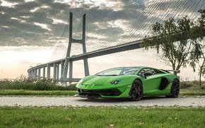 Обои мост, Lamborghini, суперкар, 2018, Aventador, Лиссабон, SVJ, Aventador SVJ