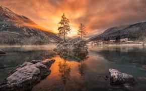 Картинка зима, деревья, закат, горы, Бавария, Germany, Bavaria, Berchtesgaden National Park, Hintersee Lake, озеро Хинтер