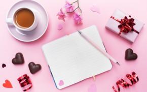 Картинка конфеты, ручка, сердечки, блокнот, день святого валентина