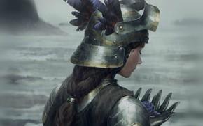 Картинка шлем, сумерки, ливень, валькирия, art, голубая роза, со спины, пасмурная погода, Guweiz, женщина-воин, доспехи латные
