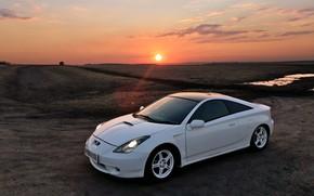 Картинка солнце, закат, автомобиль, toyota, sunset, тойота, celica, целика