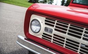 Картинка красный, Roadster, Ford, фара, 1966, Bronco, прорези