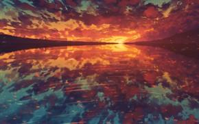 Картинка вода, закат, природа, by Miloecute