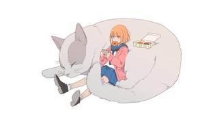 Картинка мечты, сон, ботинки, телефон, рыжая, пончики, школьница, друзья, отдыхает, матроска, серый кот