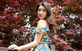 Картинка взгляд, платье, азиатка