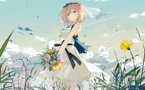 Картинка девушка, цветы, букет, девочка