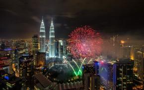 Картинка ночь, город, Малайзия, Куала-Лумпур, красный салют