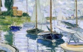 Картинка пейзаж, дом, река, лодка, картина, парус, клод моне