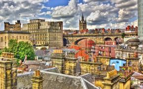 Картинка город, Англия, крыши, Ньюкасл